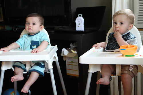 Leo and Martin in High Chairs