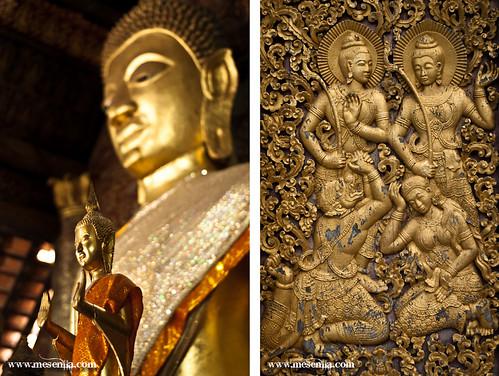 Budas y grabados en la pared del templo de Wat Xieng Thong