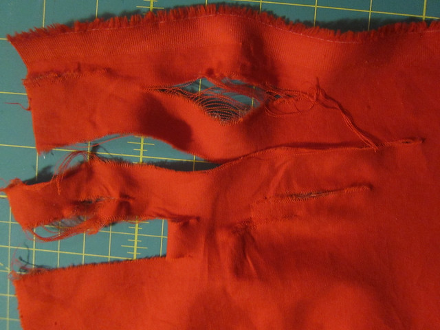 Fabric Fail - weird red poplin fell apart when I gave it the slightest pressure, my fingers went through like butter.