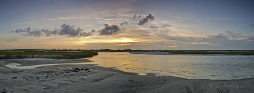 sunset panorama water creek sand surf inlet atlanticocean newriver topsailisland hellgate d600 northtopsail
