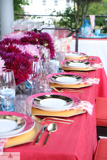 Pink and Turquoise Tablescape