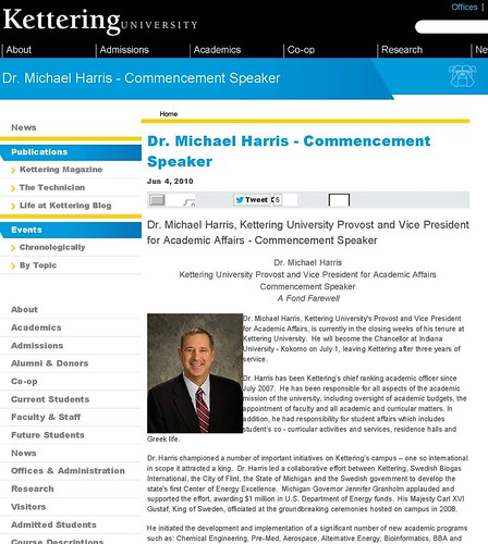 Michael Harris Kettering University, Commencement Speaker, Kettering University (GMI) Flint, IU Kokomo, Chancellor