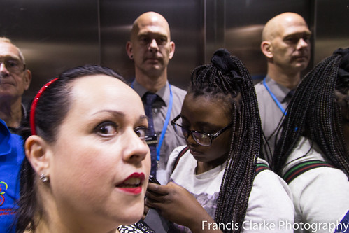 Karen Strunks and others in a lift at the Library of Birmingham - image copyright Francis Clarke