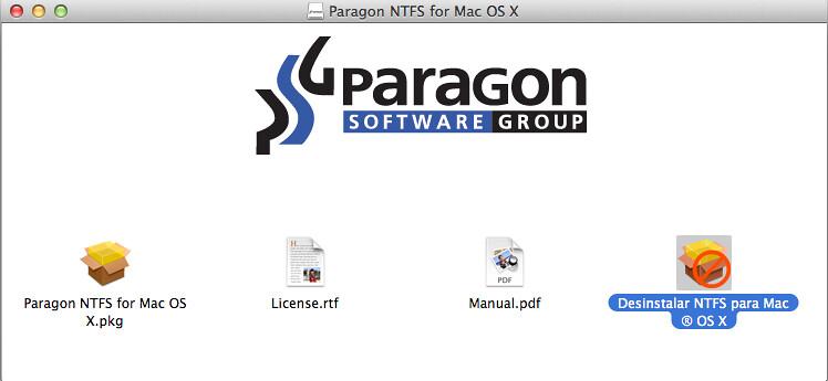 como desinstalar paragon ntfs mac