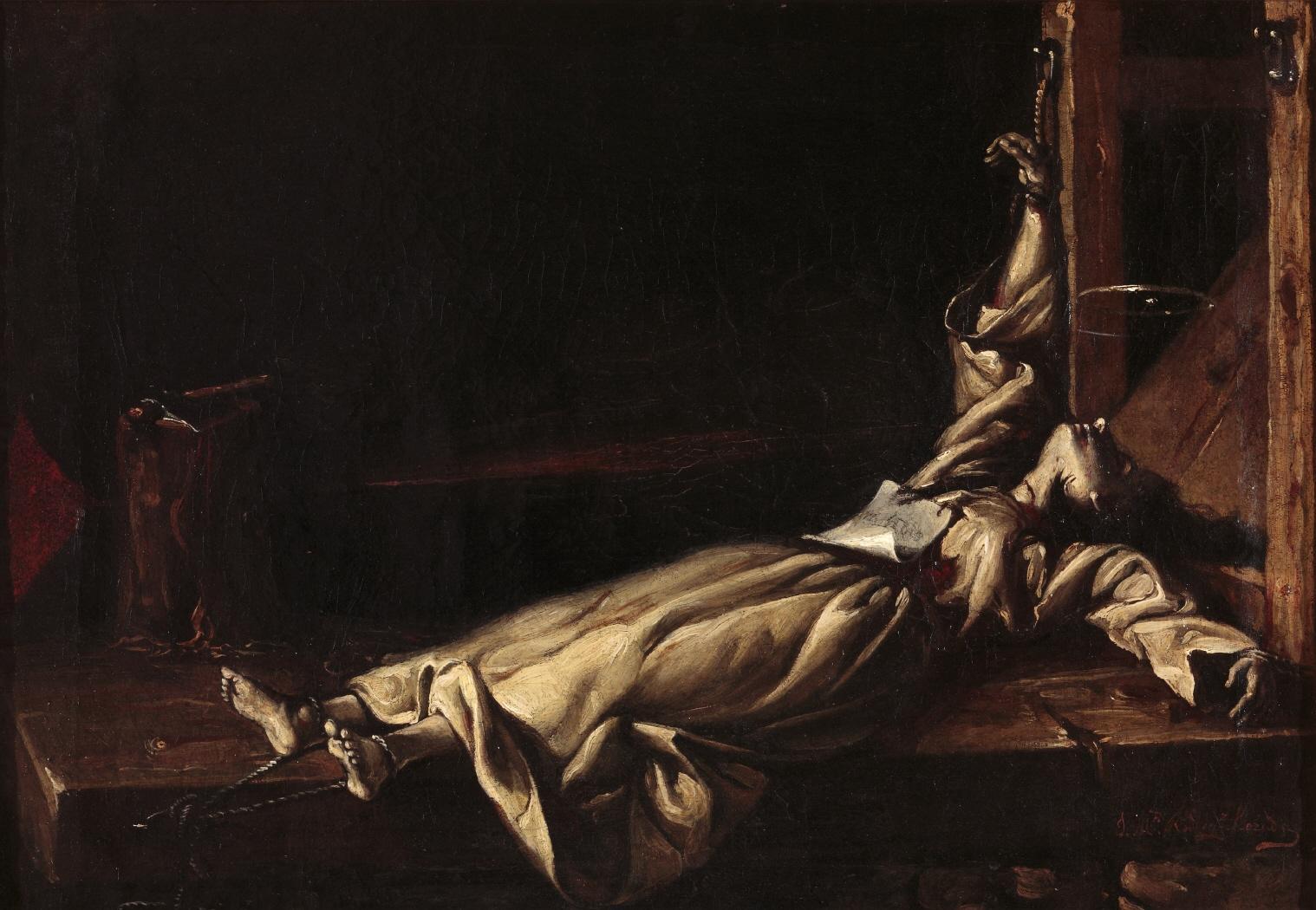 8. Víctima del tormento del potro. Autor desconocido. Óleo sobre lienzo. 1870