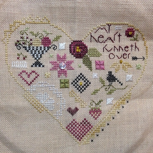 Finally! A stitching finish! #quakerheart #shepherdsbush #crossstitch
