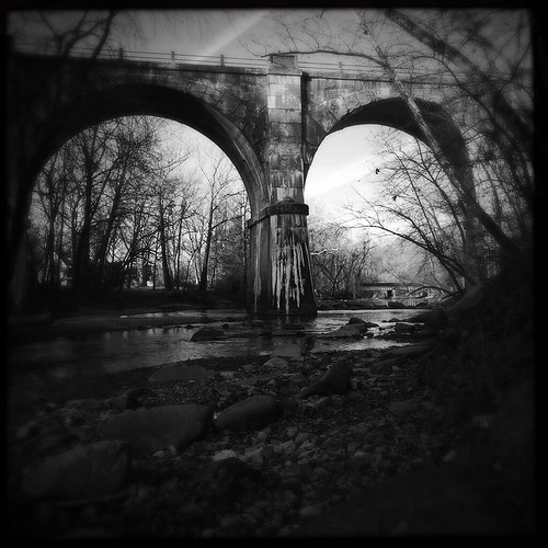 cameraphone old railroad bridge sky blackandwhite usa nature water stone architecture river square landscape blackwhite md gray maryland historic viaduct manmade apps iphone conowingo exlpore octorarocreek hipstamatic iphone5s oggl