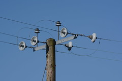 electrical supply, overhead power line, line, electricity, blue, sky, lighting,
