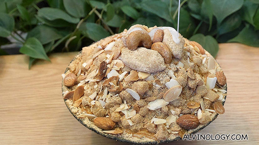 Injeolmi bingsu (their best seller) - S$12.90, topped with nuts and mochi, this is closer to the traditional Bingsu and a recommended order.