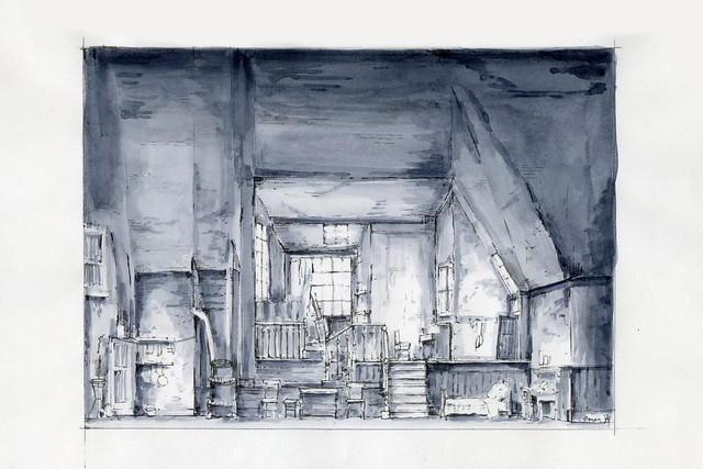 Pen and ink wash sketch of general stage setting, Acts I and IV by Julia Trevelyan Oman, designer for La bohème (The Royal Opera, 1974) JTO/025/062/1 © Sir Roy Strong