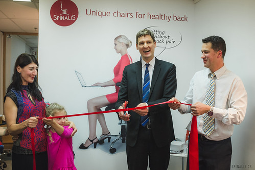 SpinaliS Chairs Furniture Store for Healthy Back and Great Posture in Vancouver, BC - David Eby Cutting Ribbon