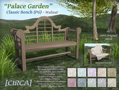 "@ The Old Fair - [CIRCA] - ""Palace Garden"" - Classic Bench (PG) - Walnut"