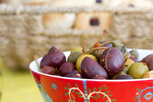 Nami-Nami Easter Brunch 2012: marinated olives with caperberries, Aleppo chili and roasted garlic