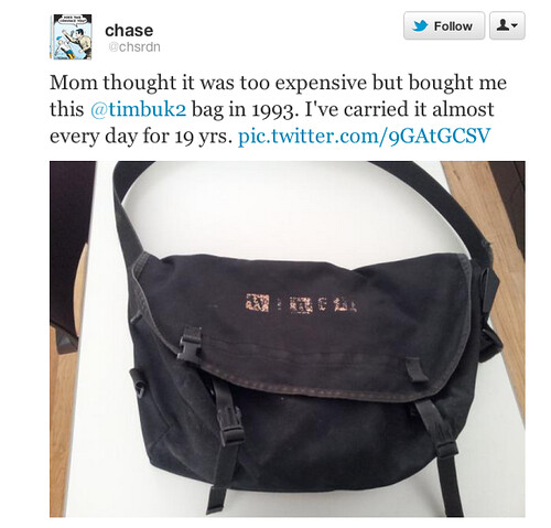 Old School Timbuk2 via Twitter