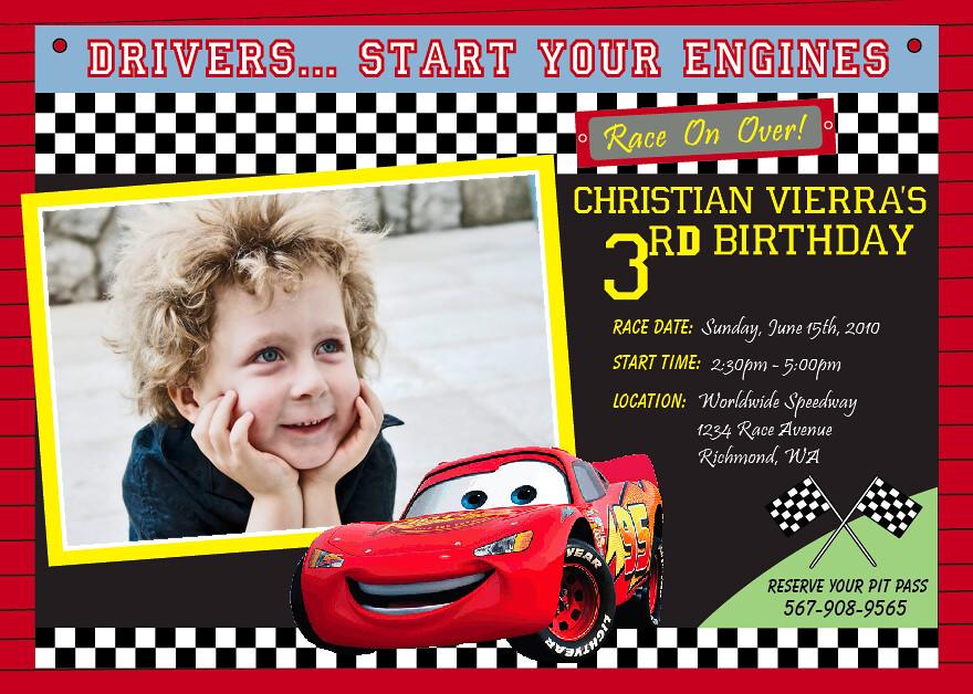 Disney Cars Lightning McQueen Custom Birthday Invitation