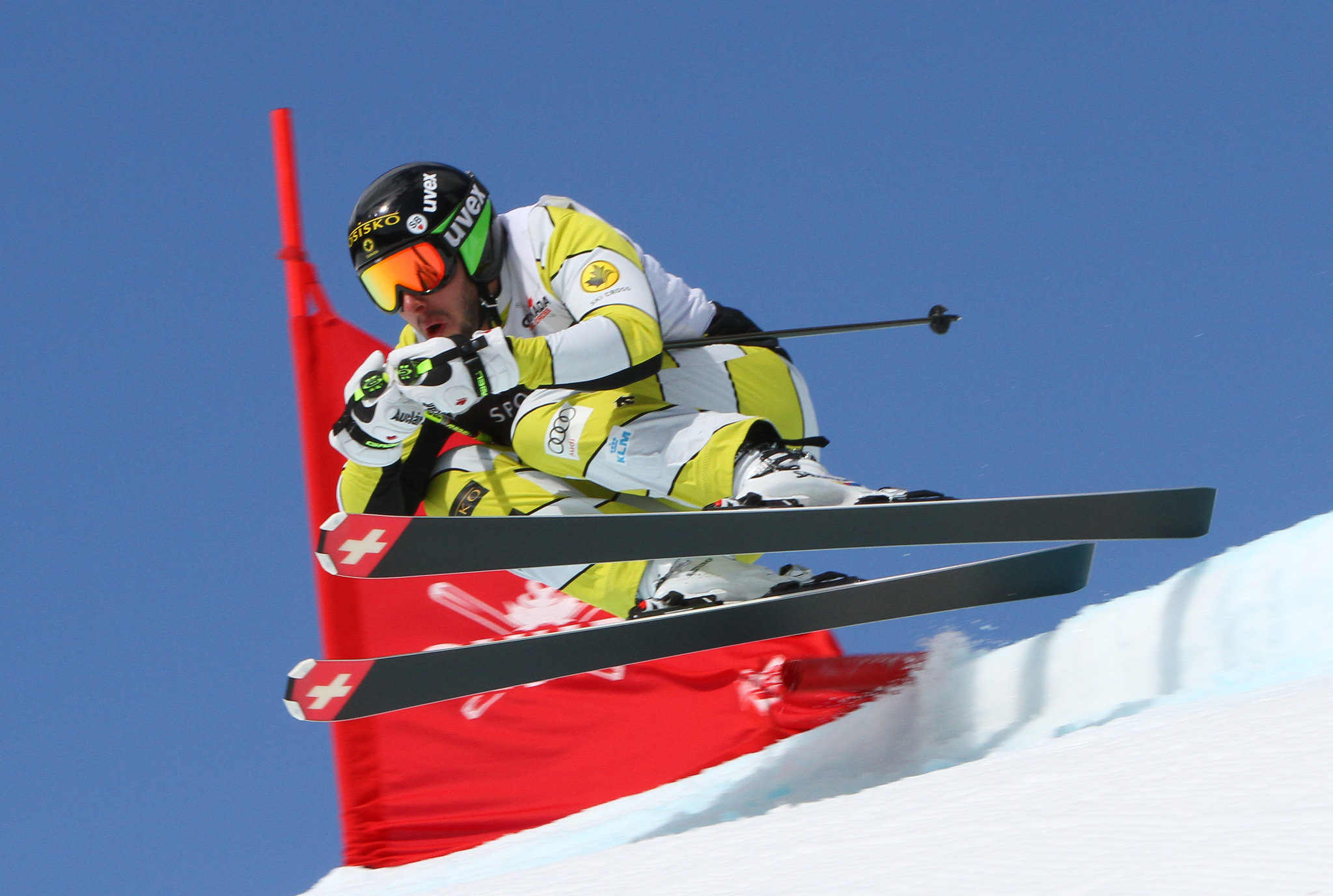Dave Duncan takes off during the Sport Chek Ski Cross Canadian Open in Nakiska.