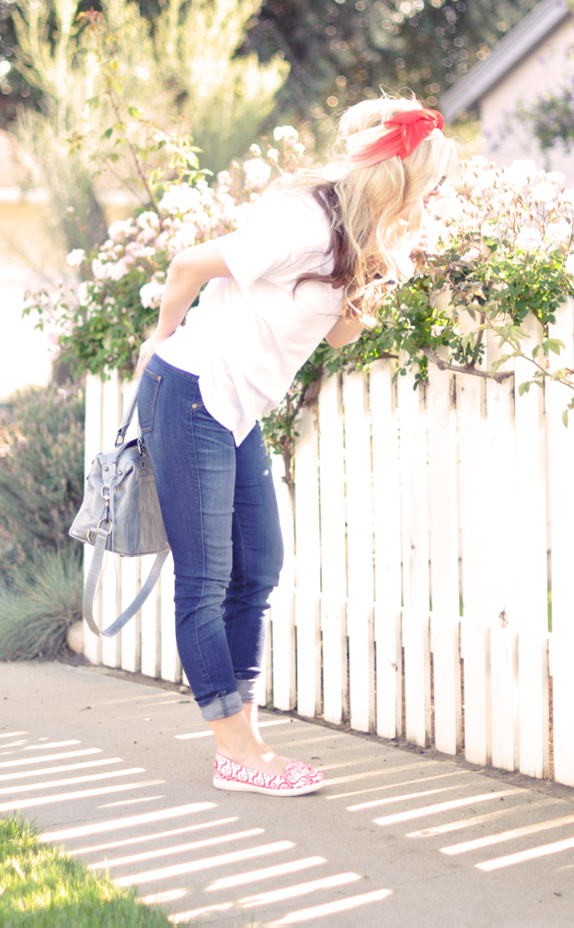 jeans and white t shirt-slip on printed crocs-head scarf bow
