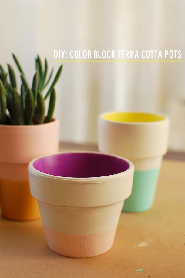 diy: color block pots
