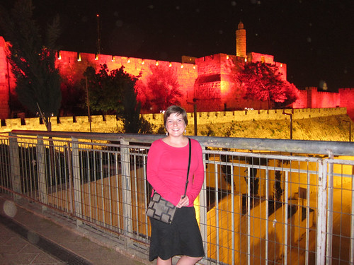 me with pink lights on the Old City walls