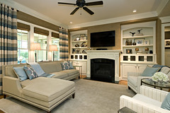 Driggs Designs: Beautiful Family Room With Striped Panels, Grasscloth Wallpaper, and Built-Ins.
