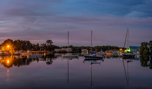 panorama usa cloud reflection building water weather night sunrise river landscape dawn pier boat dock unitedstates florida cloudy watercraft crystalriver architectureandbuildings