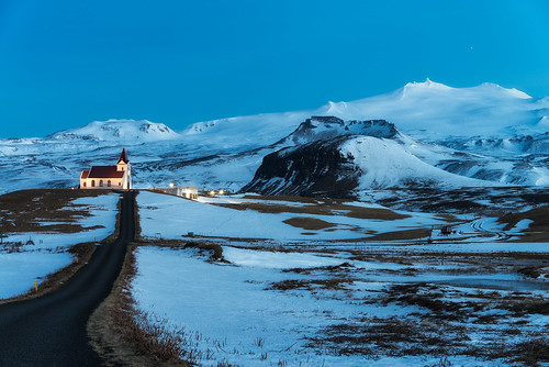 road travel blue mountain snow mountains west ice church night dark landscape island iceland nikon spot spotlight nighttime stunning fields late winding bluehour unusual lit wilderness peninsula d800 litup 28300 snaefellsness