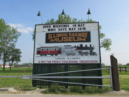 The Illinois Railway Museum's lighted roadside billboard sign along Olson Road.  The Illinois Railway Museum.  Union Illinois.  Saturday, May 18th, 2013. by Eddie from Chicago