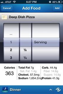 Deep dish pizza cal