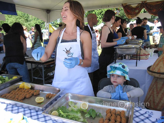 Elyem Sonmez from Turkey, serving up lentil and bulgur koftes
