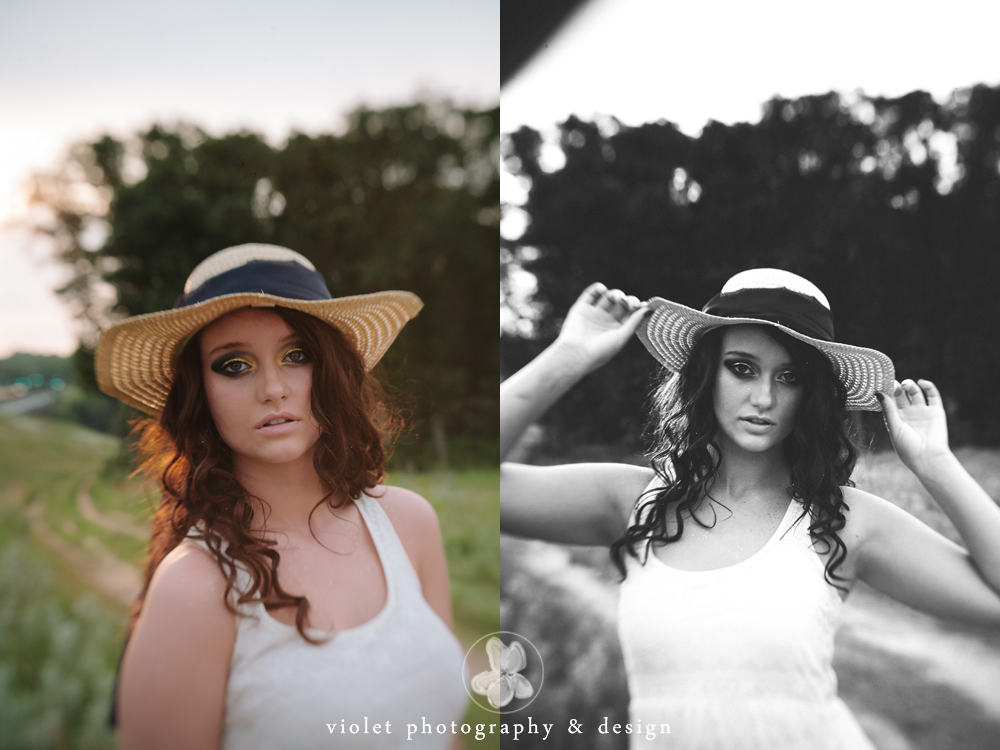 Photos with a floppy hat, beautiful sunset light for portraits