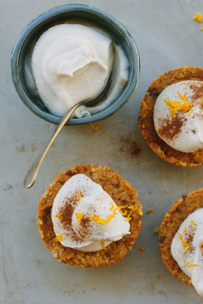 little raw carrot cakes w/ orange maple cream