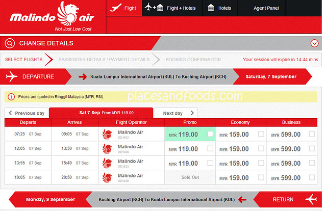malindo booking menu