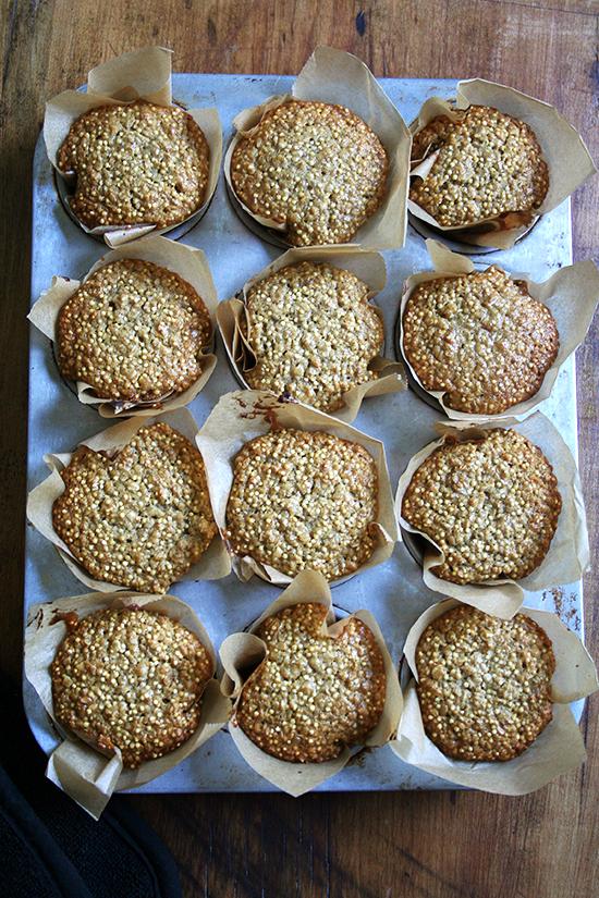 pan of millet muffins