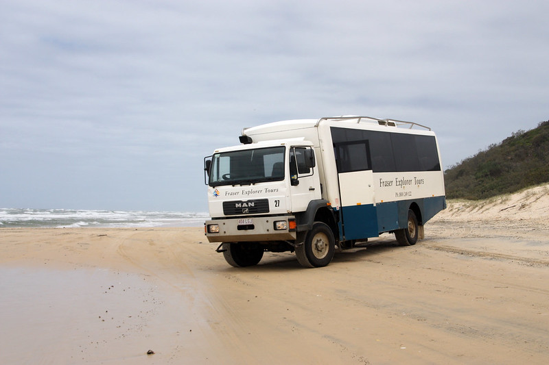 The beach is the main road on Fraser Island