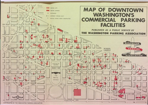 1953 brochure, inside, map of Downtown Washington's Commercial Parking Facilities
