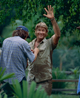 """The Late """" Crocodile Hunter """" Steve Irwin after playing with Dingos"""