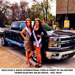 Miss Utah & Idaho International with VIA's 100mpg Electric Solar Truck at Utah Clean Air Fair