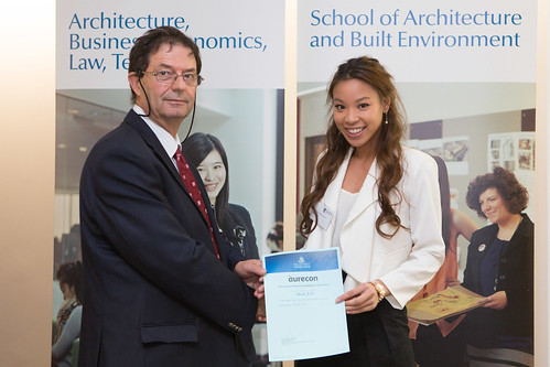 2013 Winner: Nicole Tan - Presented by Prof George Zillante (Head of School) on behalf of Aurecon