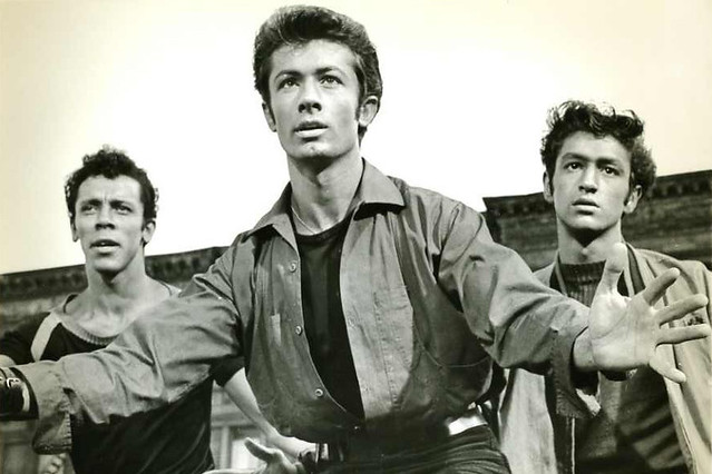 Frame enlargement from the 1961 film of West Side Story showing George Chakiris in the centre, choreography by Jerome Robbins
