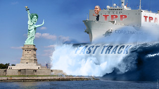 Elizabeth Liberty Stopping Captain Obama and Tidal Wave of Trade Aggreements
