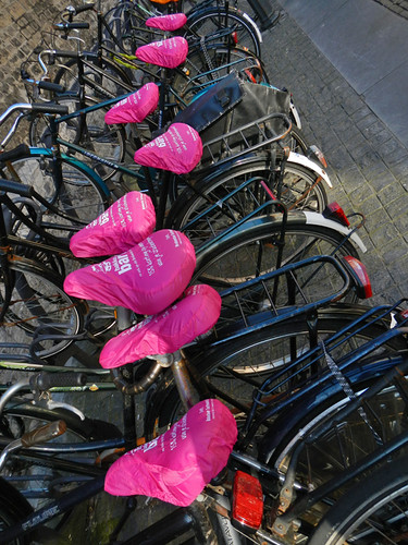 bicycle with pink seat covers in Delft, Holland