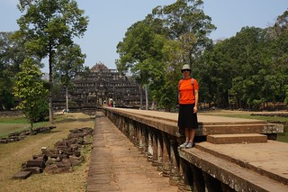 Caroline and the causeway leading to the Baphuon temple