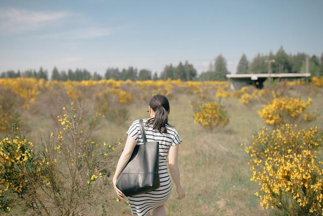 striped dress blogger