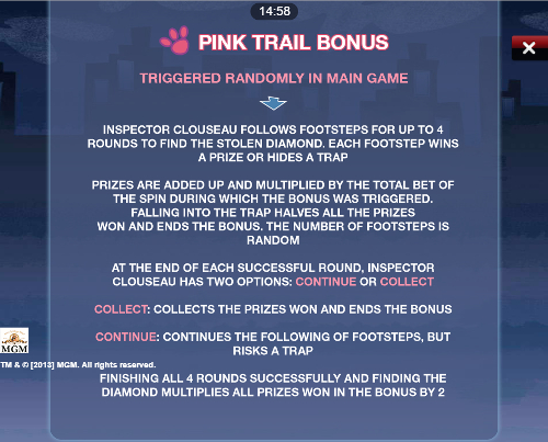free Pink Panther Mobile bonus feature