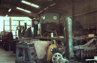 81-253  1980s visting locos to the K&ESR - one of three - ex LB&SCR AI 0-6-0T No. 72  'Fenchurch' at the back of Rolvenden shed