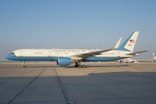 Secretary Kerry's Plane is Seen Before He Departs Abu Dhabi en Route to Marrakech