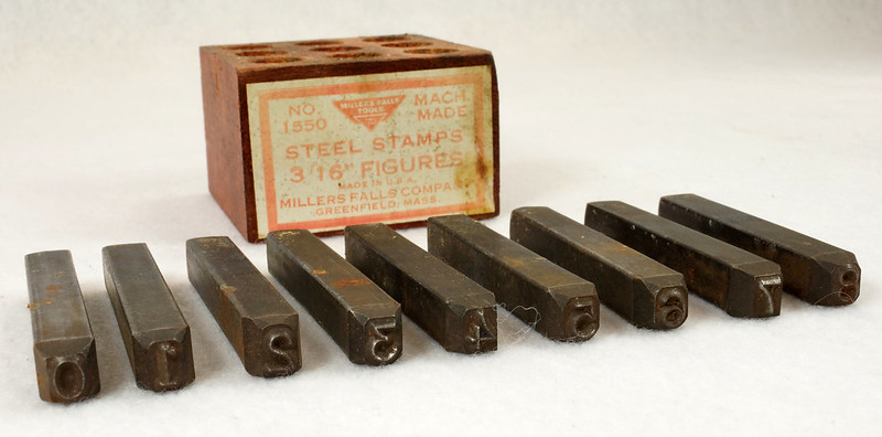RD14695 Millers Falls 3-16th inch Figures Steel Number Punch Stamps Set No 1550 USA DSC06519
