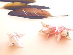 origami napkins, tulips on a white background