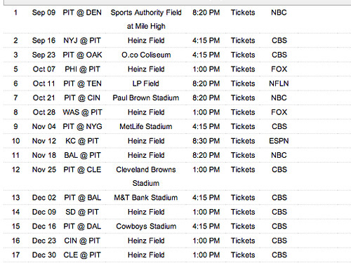 steelers 2012 schedule