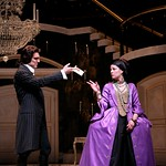 Valmont (Michael T. Weiss) hands Merteuil (Tasha Lawrence) the much sought-after letter, which seals the deal on their dastardly plot in the Huntington Theatre Company's production of